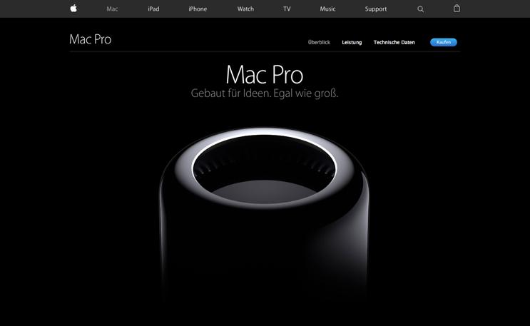 Auf Apples Produktseite zum Mac Pro kommt Scrollytelling zum Einsatz.