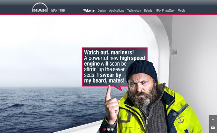 MAN erzählt eine scrollbare Geschichte um seinen neuen Schiffsmotor 175D.