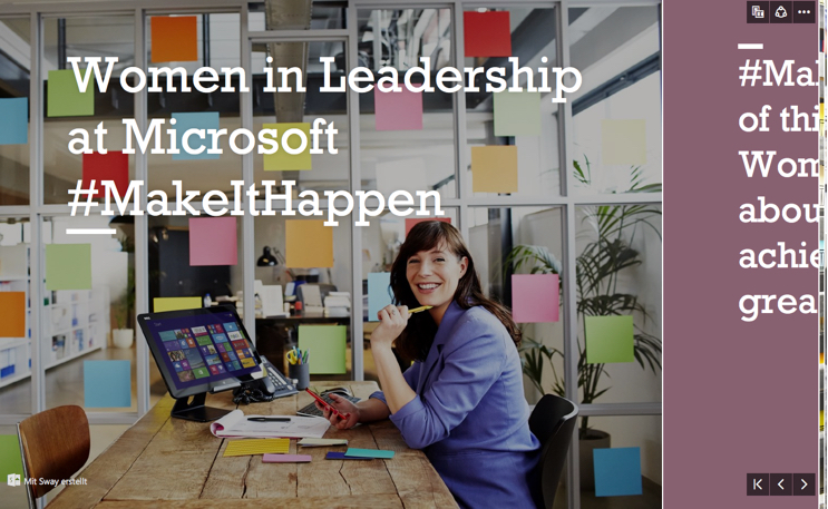 Frauen in Führungspositionen bei Microsoft porträtiert mit Sway.