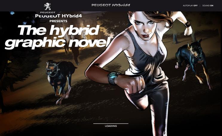 Peugeot setzt bei seinem Hybrid4 auf Scrollytelling in Form eines Comics.
